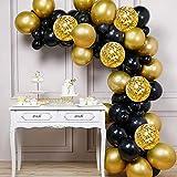 Globos de Fiesta Kit de Guirnalda, 60 Piezas Globo de Oro Negro Globos Confeti de Oro Globos de Látex para Cumpleaños, Bodas, Baby Shower, Graduación, Decoraciones de Fiesta de Ceremonia