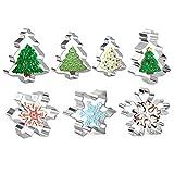 Olywee - Juego de 7 cortadores de galletas para árbol de Navidad y copos de nieve, acero inoxidable, para hornear