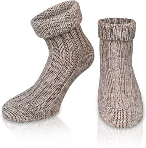 normani 2 Paar Sehr Warme weiche Umschlag Söckchen mit Alpaka Wolle/Bettsocken/Sauna Socken Farbe Beige Größe 43-46