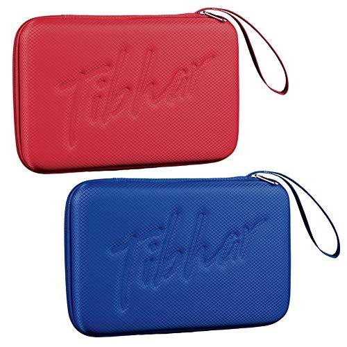 Tibhar Funda para raqueta de ping pong, para hasta 2 raquetas, rectangular, ligera, color azul, rojo (azul)