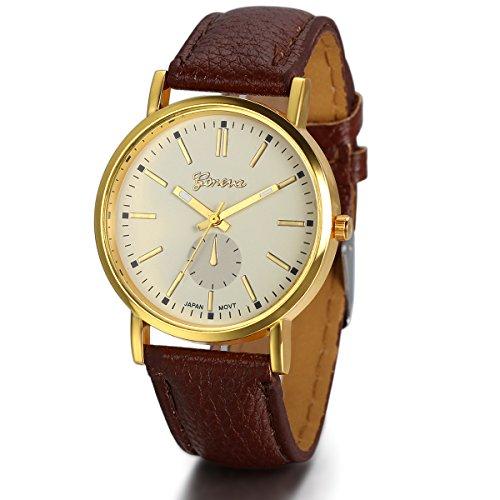 JewelryWe Herren Damen Armbanduhr, Einfach Klassiker Business Casual Analog Quarz Kaffee Leder Armband Uhr mit Gelb Zifferblatt & Gold Gehäuse