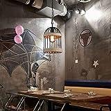 Lámpara colgante de techo de jaula de pájaros, luz colgante de jaula de pájaros de metal, luz colgante para sala de estar, dormitorio