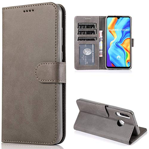 Preisvergleich Produktbild CTIUYA Schutzhülle für Huawei P30 Lite,  Hülle Handyhülle Leder Klapphülle Handytasche Flip Brieftasche Schutzhülle Magnet Wallet Case Tasche Lederhülle für Huawei P30 Lite, Grau