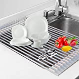 Dish Drying Rack Roll-up Multi-Use Over the Kitchen Drying/Draining Silicon Coated Steel Solid Round Rods with Heat Resistant
