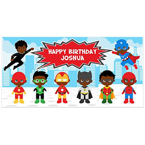 Superhero Birthday Banner Personalized Party Backdrop Decoration