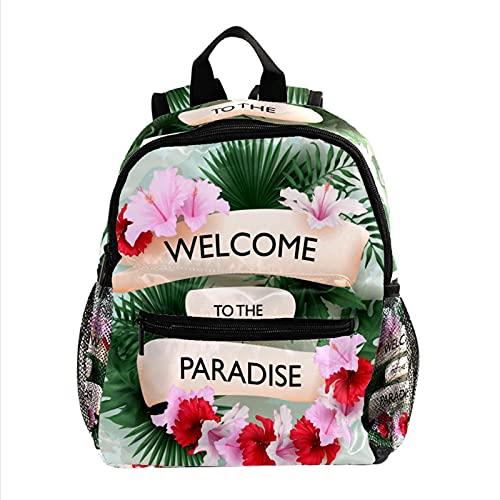 XiangHeFu Mochila de viaje para niñas Boy School Daypack Outdoor Walk Bag Bienvenido al paraíso tropical. Mochila estampada