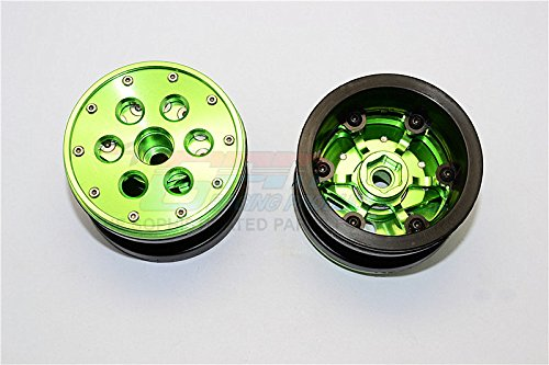 Aluminium+ Plastic Beadlock Weighted Wheels with Weight Holder & Bearings Suitable for All 2.2'' Tires - 1Pr Set Green