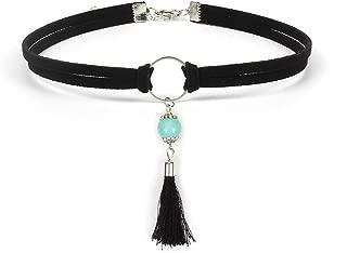 HUNO Gothic Double Chain Velvet Tassel Pendant Necklace Vintage Turquoise Beads Choker Punk Women Jewelry