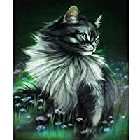DIY5Dダイヤモンド塗装キットフルドリル風の中の猫 40×50 cmダイヤモンドペインティングの絵初心者大人モザイク番号クロスステッチラインストーンアート色ダイヤモンドビーズペーストクラフト家の壁の装飾ギフト