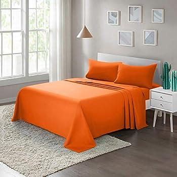 ARTALL Soft Microfiber Bed Sheet Set 4-Piece with Deep Pocket Bedding - Queen Orange