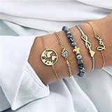 CHEMOXING 5Pcs/ Set Bohemian Turtles Beading Letters Maps Wristband Weave Multilayer Bracelet Set Women Bracelet Jewelry Gift