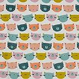 Verhees Nickistoff Nicky Happy Cats, weiß 50x155 cm