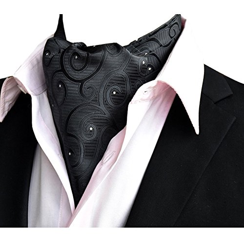 YCHENG Ascotkrawatte Gemustertes Quadratische Herren Bandana Tuch Halstuch Ascot Krawatte Schwarz 118 * 16 * 5.5cm