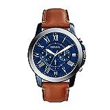 FOSSIL Grant / Montre chronographe homme avec cadran bleu et bracelet vintage en cuir brun - Boîte de rangement et pile...
