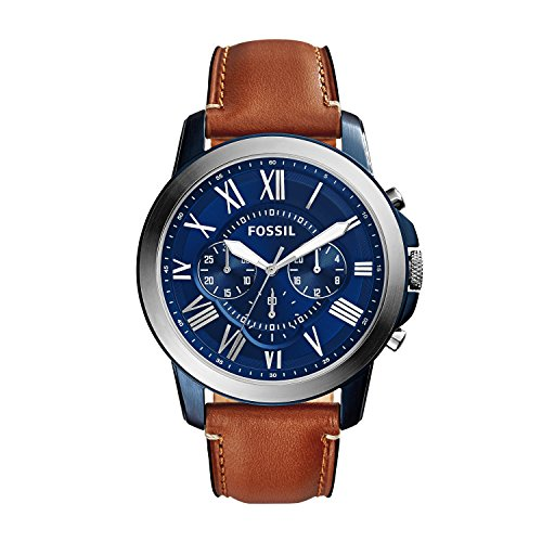 FOSSIL Grant Chronograph Light Brown Leather Watch – Analogue Men's Watch with Blue Dial and Brown Leather Strap – Quartz Movements, Stopwatch and Timer Functionality - 5 ATM Water resistant