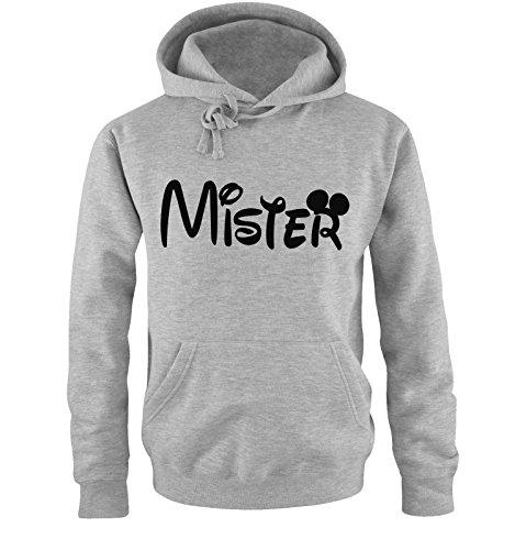 Comedy Shirts - Mister - Mickey - Herren Hoodie - Grau/Schwarz Gr. M