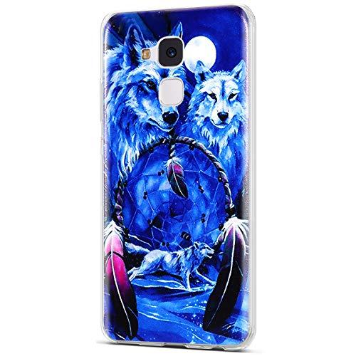 Kompatibel mit Huawei Honor 5C Hülle,Huawei Honor 5C Schutzhülle,ikasus TPU Silikon Schutzhülle Hülle Muster Handyhülle Kristallklar Durchsichtig Etui Hülle für Huawei Honor 5C,Wolf Traumfänger