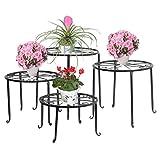 FullBerg Soporte para flores de metal, color negro, palés, estantería para...