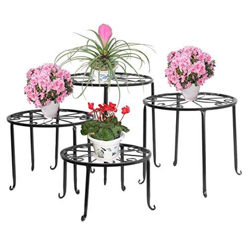 FullBerg Soporte para flores de metal, color negro, palés, estantería para flores, mesa de balcón, escalera decorativa para plantas, para interior y exterior, jardín