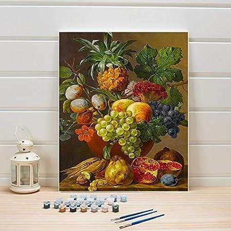 YSDECOR Pintar Por Número En Lienzo Bodegón Frutas Pintura Acrílico Colorear Artes Para Sala De Estar Pared Adultos Dibujo 40X50cm