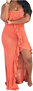 RkYAO Women Slit Style Sexy Wrapped Ruffled Sleeveless Maxi Beach Dress