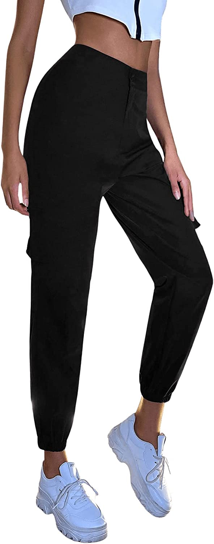 SweatyRocks Women's Elastic High Waist Jogger Workout Cargo Pants with Pocket