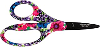 Fiskars 124302-1026 Non-stick Pointed-tip Kids Scissors, 5 Inch, Blue Blooms