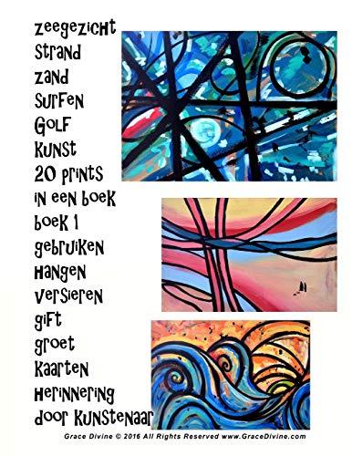 zeegezicht strand zand surfen Golf kunst 20 prints in een boek boek 1 gebruiken hangen versieren gift groet kaarten herinnering door kunstenaar Grace Divine