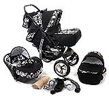 Baby Sportive - Sistema de viaje 3 en 1, silla de paseo, carrito con capazo y silla de coche, RUEDAS ESTÁTICAS y accesorios, color negro, flores blancas