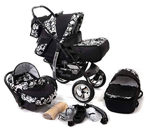 Kamil, Classic 3-in-1 Travel System with 4 STATIC (FIXED) WHEELS incl. Baby Pram, Car Seat, Pushchair & Accessories (3-in-1 Travel System, Black & Flowers)