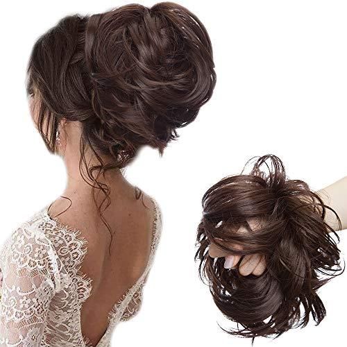 80G - Große Haarteil Haargummi Haar Extensions Messy Bun Dutt Hochsteckfrisuren Voluminös mit Gummiband Mittel braun