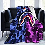 Gudenice Bape Shark Teeth Flannel Blanket Couch and Plush House Warming Decor Gift for Sofa 60'X50'
