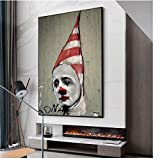 DAQIANSHIJIE Canvas Painting Graffiti Wall Art Sad Clown with Hat and Prints Wall Pictures for Living Room Decoration Home Decor-24X36 in No Frame