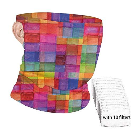 ENZOOIHUI Arco Iris Abstracto Color geométrico Cuadrado en Forma de Bufanda de la Cara sin Costura bucles de Oreja con 10 filtros Anti-Polvo de la Polaina del Cuello pasamontañas
