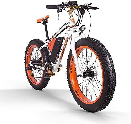 RICH BIT Bici elettrica 1000W RT022 E-Bike 48V * 17Ah Li-batteria 4.0 pollici grasso pneumatico da uomo bici da spiaggia adatta per 165-195 cm (White-Orange)