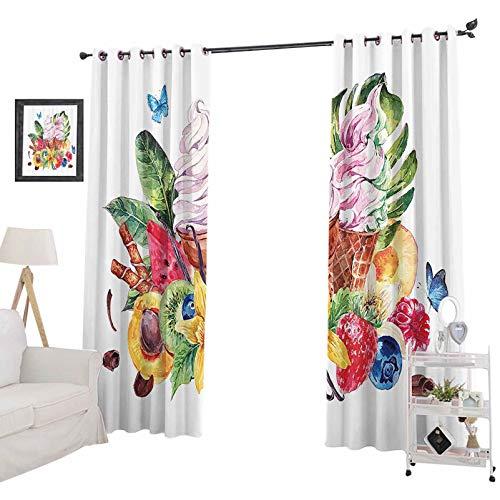 Cortinas térmicas con bloqueo de luz, efecto acuarela, tema de alimentos, frutas, helado, hojas y mariposas, para ventanas de eficiencia energética, para dormitorio de 132 x 274 cm, multicolor