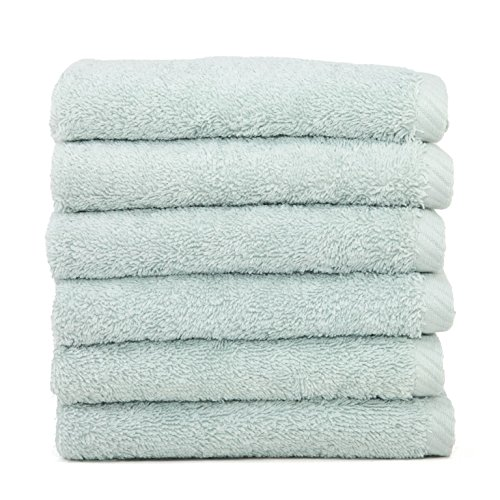 Authentic Hotel and Spa Plush Soft Twist Turkish Cotton Washcloth (Set of 6) Blue
