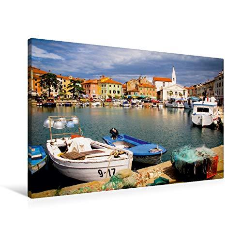 Lienzo de 90 cm x 60 cm horizontal, diseño del puerto pesquero pintor de Izola, Eslovenia, imagen sobre bastidor, imagen lista para colocar en la costa eslovena. (CALVENDO Orte);CALVENDO lugares