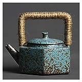 jinrun Hervidor de té de cerámica Haz de Seis Caras de té de té de Haz de Seis Caras, Cambio, gres Retro, gres, Hechos a Mano, cerámica, Tetera portátil, Tetera (Color : Green)