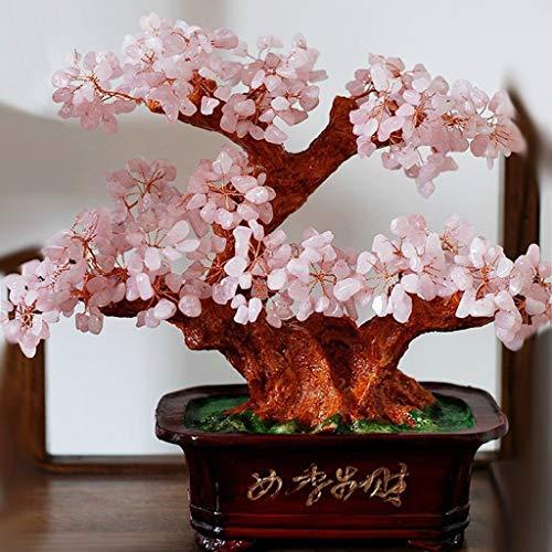 NYKK Ornamento de Escritorio Natural de Cristal de Cristal del árbol del Dinero de Feng Shui Verde aventurina Cuarzo Piedra de Gema del árbol del Dinero artesanías decoración (Color : Pink)