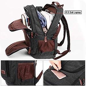 51HLNvJ758L. SS300  - Mochila de lona para hombre de 17,3 pulgadas, para ordenador portátil, 35 l, mochila escolar para estudiantes, mochila…