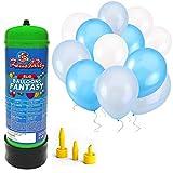 Bombola gas elio 2,2 litri + 30 palloncini azzurri e bianchi per feste di nozze e battesimi