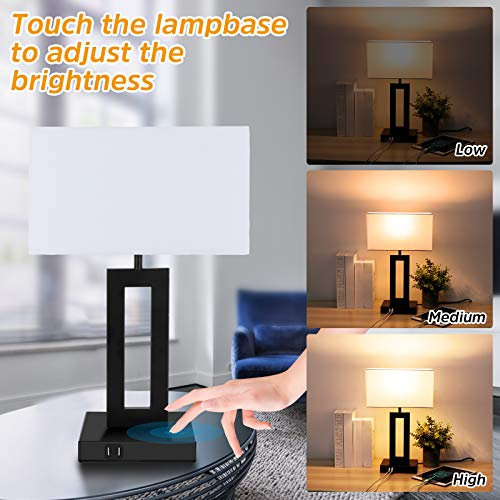 OASO Set of 2 Touch Control 3-Way Dimmable Bedside Lamps with 2 USB Charging Ports,Modern Touch Nightstand Table Lamps for Bedrooms Bedside Table Living Room Side Table End Table(LED Bulb Included)