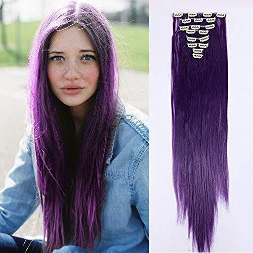 Clip in Extensions Haarverlängerung Haarteil 8 Tresssen wie Echthaar glatt Lila-blau-1 26
