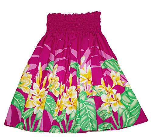 夏威夷pa'u hula裙夏威夷打印红色花或蓝色花为女式(粉红色/黄色)