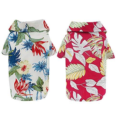 Yikeyo 2 Pack Dog Hawaiian Shirt Summer Dog Beach Clothes Puppy T-Shirt Pet Cat Costume for Small Dogs Boy Girl XS ~ XXL (Red + Green, Medium)