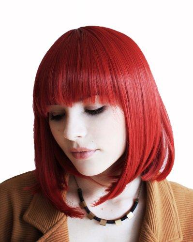 Prettyland Perruque Moyenne naturels Bob Frange Raide Wig Cheveux Courte Raide Rouge Rouille C749