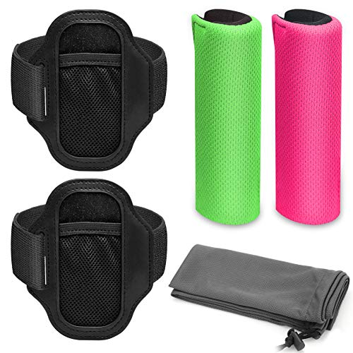 Linkstyle Ergonomic Grips (Green and Pink) for Ring-Con and 2 Pack Adjustable Leg Strap with 1 Storage Bag Accessories for Nintendo Switch Ring Fit Adventure (Ring-con is not Included)