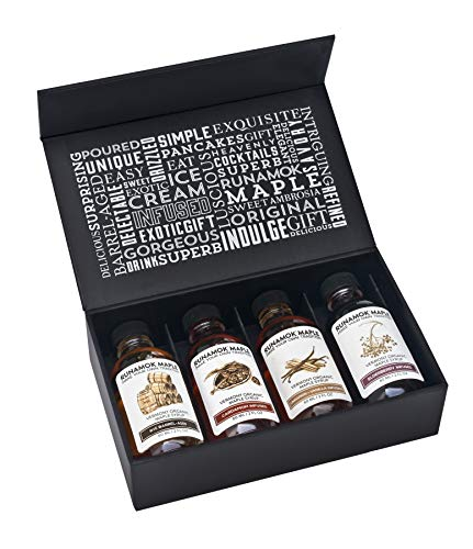 Runamok Maple Syrup Gift Box | Vermonter's Gift Box | Special Present For Holidays | Whiskey Barrel-Aged, Cinnamon+Vanilla, Cardamom & Elderberry | 4 Samplers of Real Maple Syrup | 2 Fl Oz (60mL)