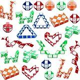 Sunshane 24 Stücke 24 Blöcke Magische Schlangen Würfel, Mini Schlangen Geschwindigkeit Würfel, Mini Kunststoff Puzzle Würfel Spielzeug für Kinder Party Tasche Füllstoff, Party Favors, Zufällige Farbe
